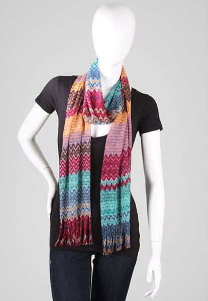 Missoni Loose Knit Zig Zag Scarf in Bright/Multi
