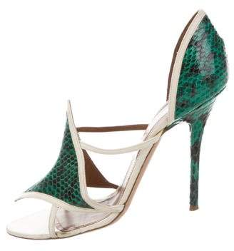 Malone Souliers Snakeskin-Trimmed Leather Sandals