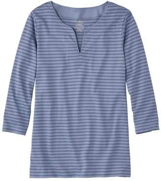 L.L. Bean L.L.Bean Women's Pima Cotton Tunic, Three-Quarter-Sleeve Splitneck Stripe