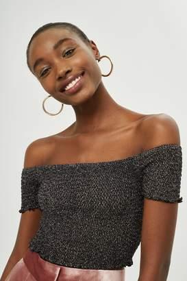 Topshop Womens Petite Metal Shirred Bardot Top - Black