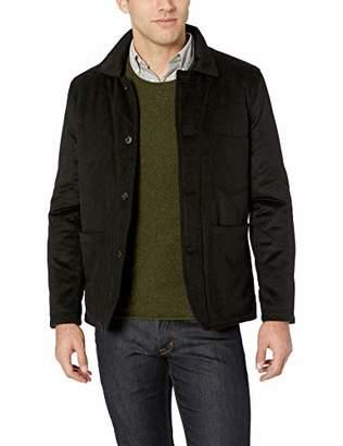 Billy Reid Men's Rabbit Fur Wool Cashmere Quail Coat with Leather Details