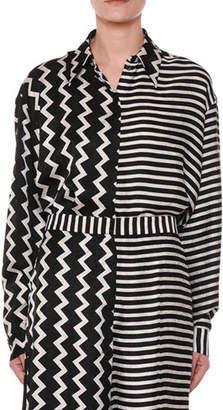 Stella McCartney Button-Down Zigzag & Striped Mixed-Print Silk Shirt
