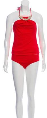 Michael Kors Embellished Two-Piece Swimsuit w/ Tags Red Embellished Two-Piece Swimsuit w/ Tags
