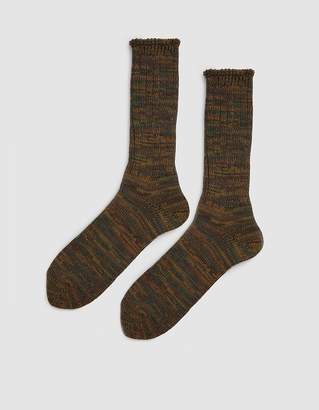 Anonymous Ism 5 Color Mix Crew Sock in Olive