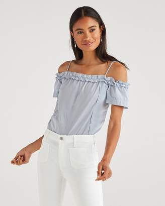 6e06f60df1f 7 For All Mankind Ruffle Short Sleeve Off Shoulder Top in Blue and White  Stripe