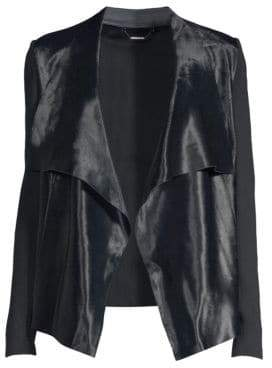 Elie Tahari Iona Calf Hair& Merino Wool Leather-Trim Drape Front Jacket