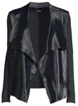 Elie Tahari Iona Calf Hair& Merino Wool Leather-Trim Drape Front Jacket