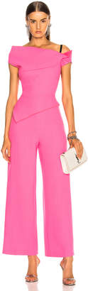 Roland Mouret Gable Double Wool Crepe Jumpsuit in Candy Pink | FWRD