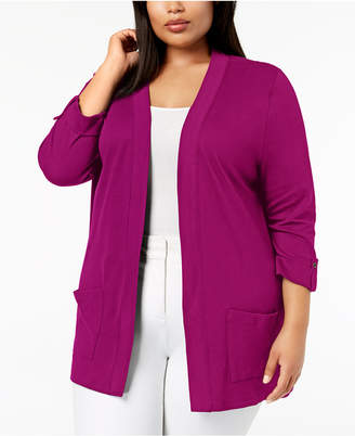Karen Scott Plus Size Cotton 3/4-Sleeve Cardigan