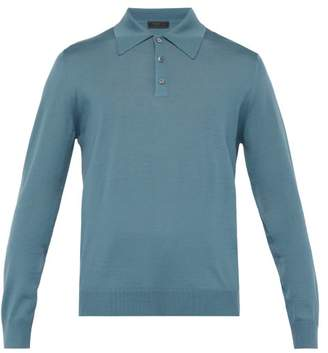 Prada Long Sleeved Wool Polo Shirt - Mens - Mid Blue