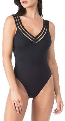 Kenneth Cole Reaction Stripe Trim One-Piece Swimsuit