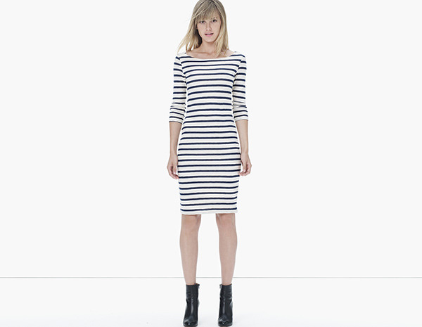 James Perse Cotton Cashmere Stripe Boatneck Dress