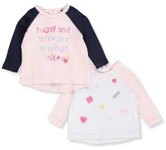 Quiltex Baby Girl Coordinating Separates Hi-Lo Hem Tops, 2-pack