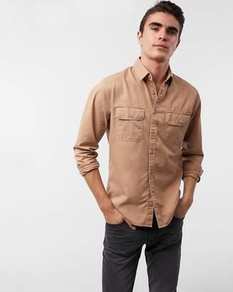 Express Slim Twill Military Shirt