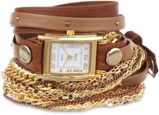 La Mer Women's LMDUOSTUD002 Brown Taupe Gold Stud Arizona Bracelet Wrap Watch