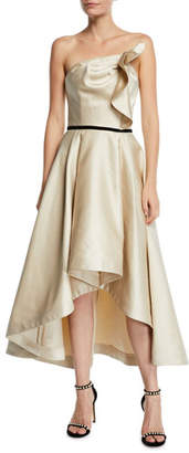 Shoshanna Amberose Strapless Satin High-Low Dress