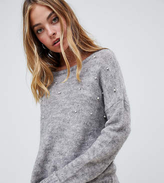 Brave Soul Petite sweater with pearl embellishment