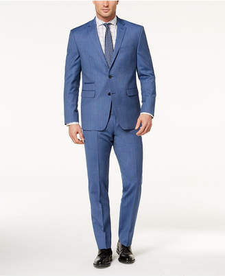 Vince Camuto Men's Slim-Fit Stretch Blue Tic Suit