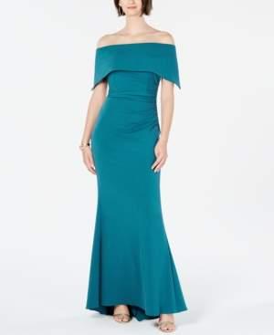 Vince Camuto Ruched Off-The-Shoulder Gown