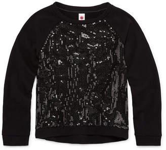 Total Girl Long Sleeve Fashion Sweatshirt with Sequins - Girl's 7-16 & Plus