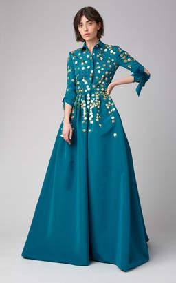 Carolina Herrera Embellished Silk Trench Gown