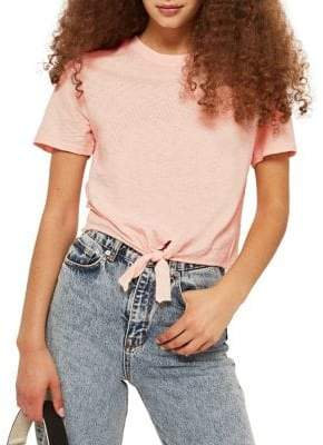 Topshop TALL Knot-Front Jersey Tee