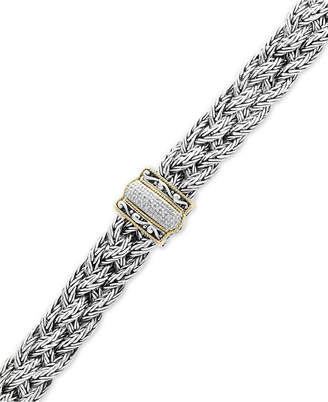 Effy Balissima by Diamond Braided Bracelet (1/10 ct. t.w.) in Sterling Silver & 18k Gold