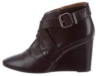 Aquatalia Leather Wedge Booties