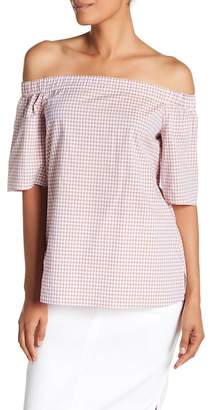 Lafayette 148 New York Livvy Gingham Off-the-Shoulder Blouse