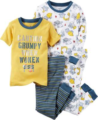 Carter's Boys' 12M-10 4 Piece Construction Print Pajama Set