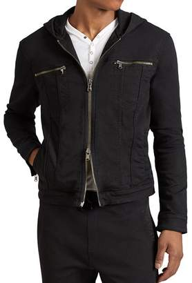 John Varvatos Hooded Zip-Front Knit Jacket