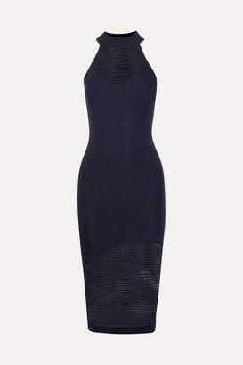 Cushnie Mesh-paneled Stretch-knit Midi Dress - Black