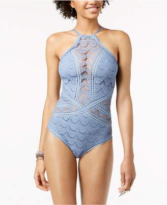 Becca High-Neck Illusion Crochet One-Piece Swimsuit Women's Swimsuit