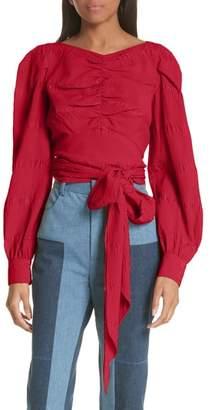 Rachel Comey Bounds Tie Waist Silk Blend Top