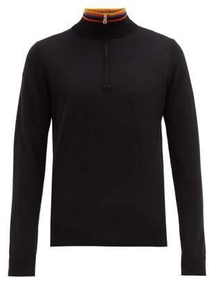 Paul Smith Artist Stripe Half Zip Merino Wool Sweater - Mens - Black