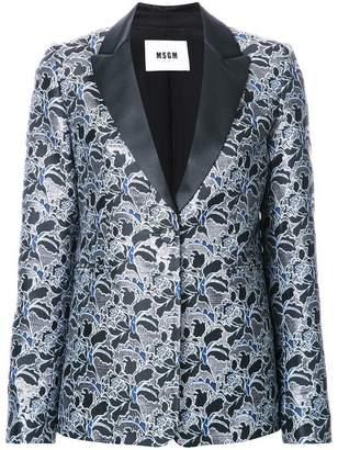 MSGM metallic floral jacquard dinner jacket