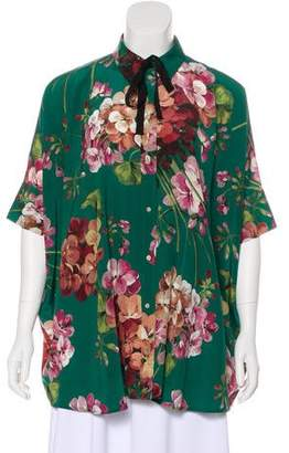 Gucci 2015 Bloom Print Silk Crepe Blouse