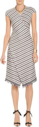 St. John Thatched Grid Knit Asymmetric V-Neck Dress
