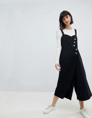 Asos Design Jumpsuit with Horn Button Detail in Twill