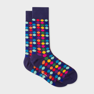 Men's Navy Socks With Multi-Coloured Polka Dots $30 thestylecure.com