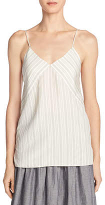 Vince Monotone Striped Silk V-Neck Camisole, Off-White/Black