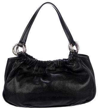Francesco Biasia Leather Ruched-Accented Shoulder Bag