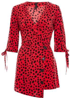Quiz Red and Black Leopard Print Asymmetric Playsuit