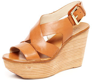 KORS Michael Kors Virsana Strappy Leather Wedge Sandal, Dark Tan