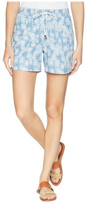 Tribal Printed Lightweight Denim 5 Shorts with Drawstring in Poolside Women's Shorts