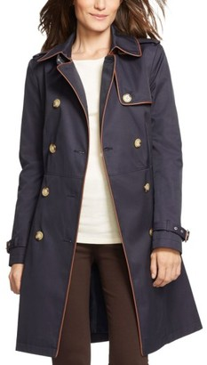 Women's Lauren Ralph Lauren Faux Leather Trim Trench Coat $190 thestylecure.com