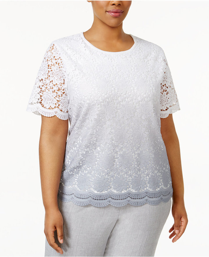 Alfred DunnerAlfred Dunner Plus Size Rose Hill Collection Lace Short-Sleeve Sweater