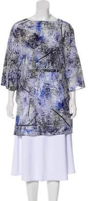 Alice + Olivia Silk Printed Poncho Blue Silk Printed Poncho