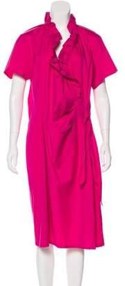 Lafayette 148 Ruffle-Accented Midi Dress