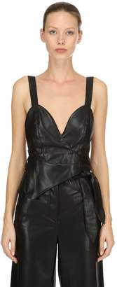 Faux Leather Crossed Top